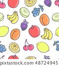 손으로 그린 원활한 패턴 : 과일 01 48724945