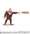 Angry Mad Boss Character in Suit Shout Fired Word 48726013