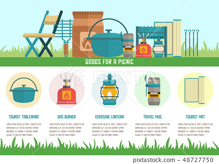 Goods for Picnic Flat Vector Landing Page Template 48727750