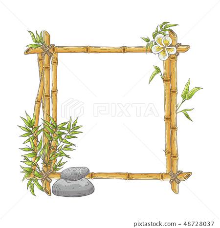 Vector sketch bamboo frame with zen pebble 48728037