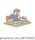 Stressed student sitting at table with pile of books and studying in hand drawn style. 48728083