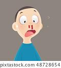 Nosebleed, Cartoon boy is bleeding from his nose, 48728654