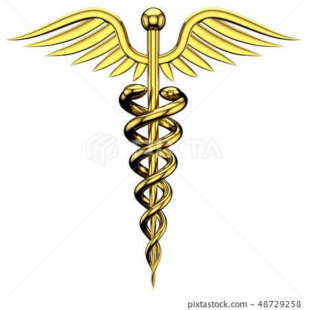 Golden medical symbol. Isolated on transparent 48729258