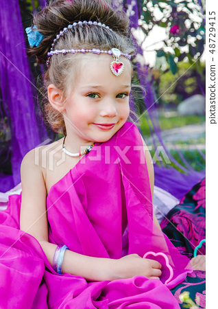little girl in eastern dress 48729415
