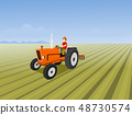 The man is driving a orange tractor. In order to 48730574