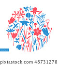 Spring flowers round design. Scandinavian style 48731278