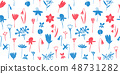 Spring flowers colour seamless vector pattern. 48731282