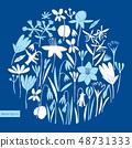 Spring flowers round design. Scandinavian style 48731333