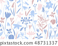 Spring flowers colour seamless vector pattern. 48731337