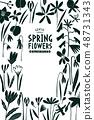 Spring flowers design template. Scandinavian style 48731343
