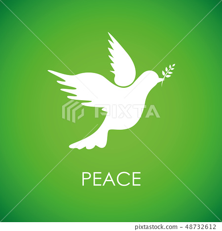 white peace dove on green background 48732612