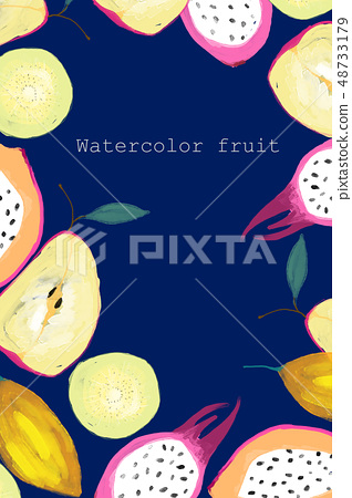 水彩手繪熱帶水果 48733179