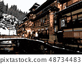 Ginzan hot spring with snowy scenery 48734483