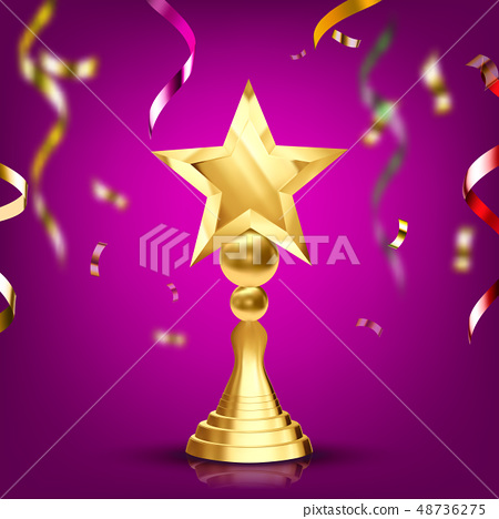 Golden Trophy Cup Vector. Champion Prize. Winner Icon. Sport Reward. Victory Goblet. Number One 48736275