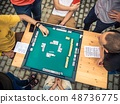 People Playing Mahjong Asian Tile-based Game. Table Gambling top view 48736775