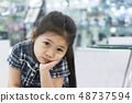Toothache Little Asian Girl. 48737594