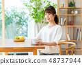 젊은 여성 (커피) 48737944