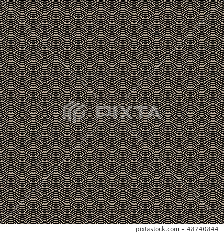 Chinese classic seamless pattern with golden stroke and black waves 48740844