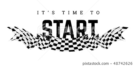 Checkered flag with the word Start. T-shirt design on white 48742626