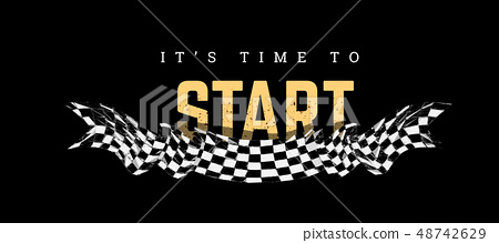 Checkered flag with the word Start. T-shirt design on black 48742629