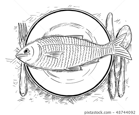 Cartoon Drawing of Top View of Fish Food on Dinner Plate 48744092