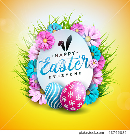 Vector Illustration of Happy Easter Holiday with Painted and Spring Flower on Shiny Yellow 48746083