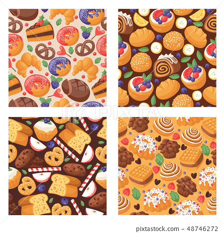 Pastry vector seamless pattern baked cake cream cupcake and sweet confection dessert with caked 48746272