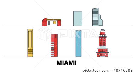 United States, Miami City flat landmarks vector illustration. United States, Miami City line city 48746588
