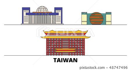 Taiwan, New Taipei City flat landmarks vector illustration. Taiwan, New Taipei City line city with 48747496