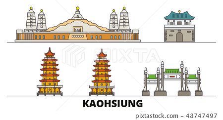 Taiwan, Kaohsiung flat landmarks vector illustration. Taiwan, Kaohsiung line city with famous travel 48747497