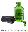 Opened green nail polish bottle, 3D rendering 48748852