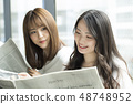 Two women reading a newspaper on the window side 48748952