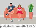 Man and Girl sitting on the sofa 48749877