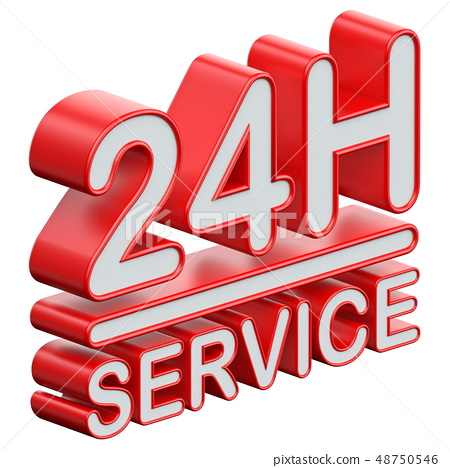24 hours service text 3D 48750546