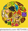 Hats shop market store vector illustration. Different clothing sale style cap cloth accessories 48754061