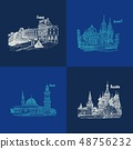 blue sketch pattern architecture travel countries 48756232