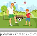 Vector Flat Dad Teaches Plays Football with Son. 48757175