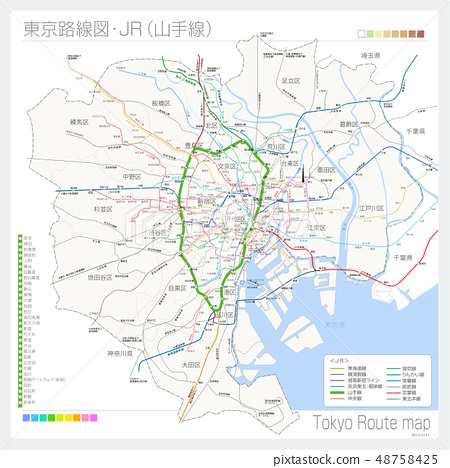Route map of Tokyo · JR (Yamanote line) 48758425