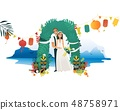 Marriage ceremony on Hawaii coast - young bride and groom getting married at beach. 48758971
