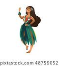 Vector cute hawaiian girl with flowers wreath 48759052