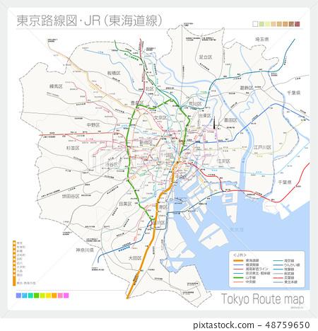 Route map of Tokyo · JR (Tokaido Line) 48759650