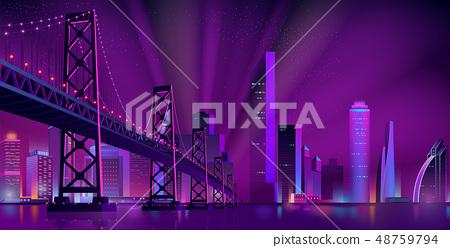 Modern night city landscape vector background 48759794