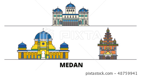 Indonesia, Medan flat landmarks vector illustration. Indonesia, Medan line city with famous travel 48759941