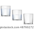 Realistic empty glass with water cup set. 48760272