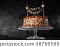 Chocolate cake on dark background 48760569