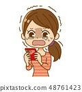 สมาร์ทโฟนและผู้หญิงกำลังร้องไห้ 48761423