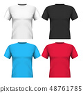 Realistic set cotton t-shirts isolated on white 48761785