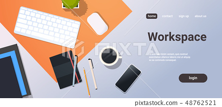 workplace desk top angle view keyboard mouse smartphone notepad office stuff horizontal copy space 48762521