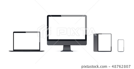 realistic electronic devices mockup set laptop monitor tablet and smartphone with empty blank screen 48762807