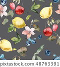 Watercolor pattern with fruits and berries. 48763391